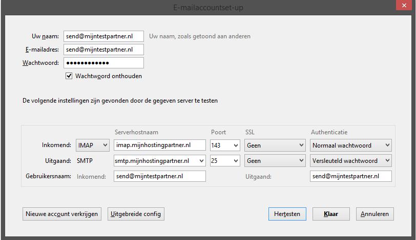 Email instellen - Thunderbird