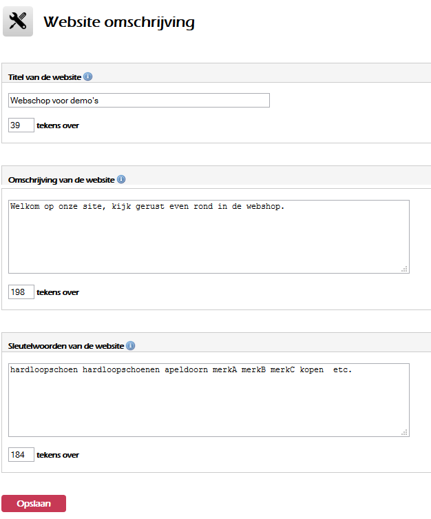 Webshop omschrijving/sleutelwoorden en titel aanpassen.
