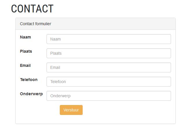 Het contact formulier bewerken