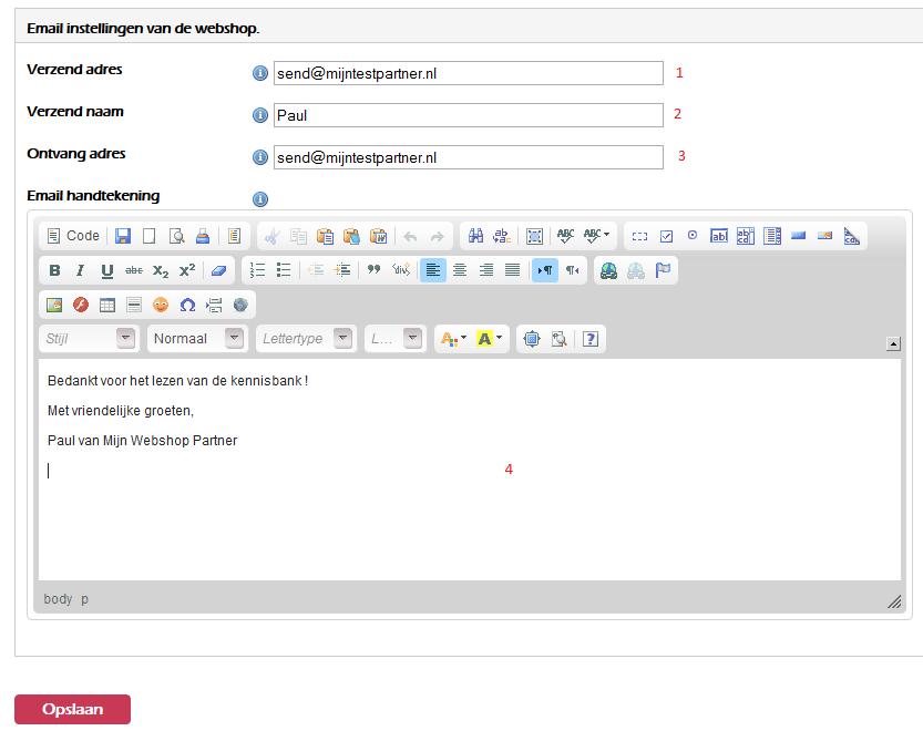 Een email adres instellen in je webshop