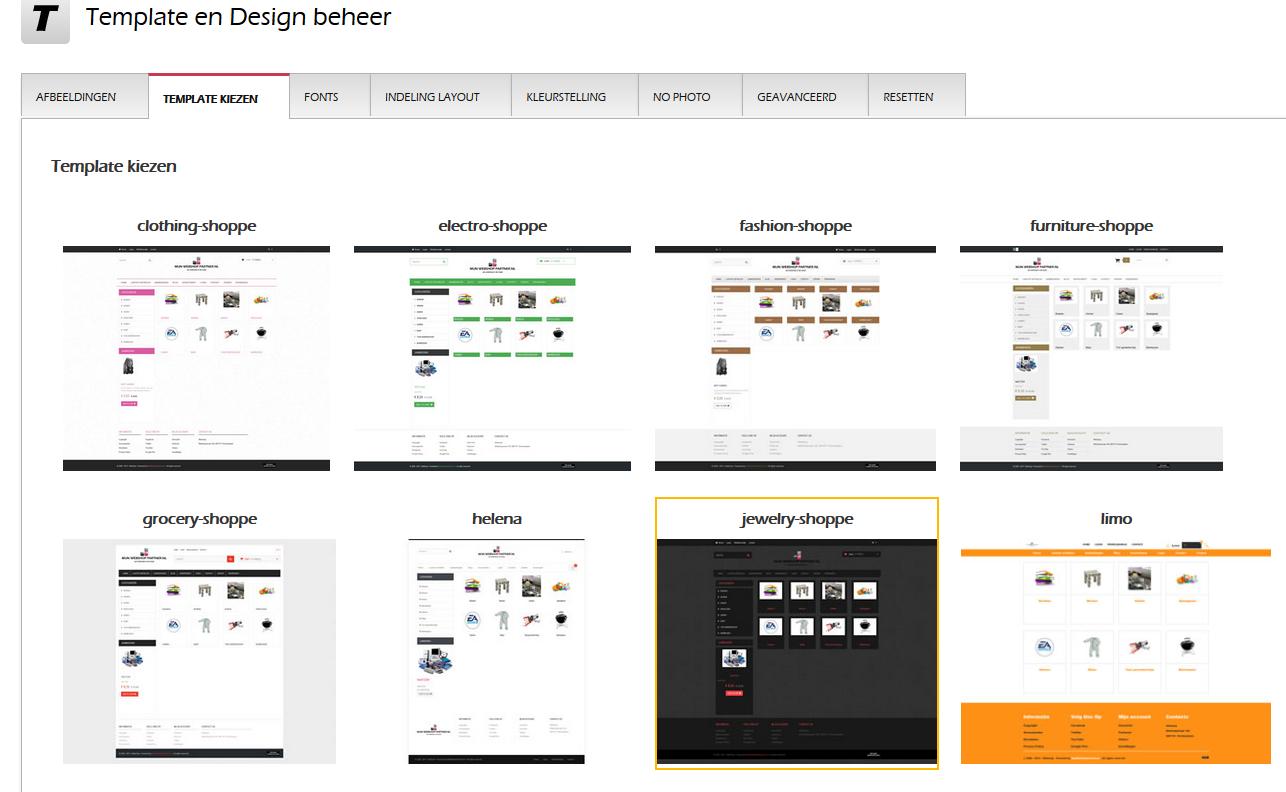 Hoe wijzig ik mijn template/uiterlijk van de webshop?