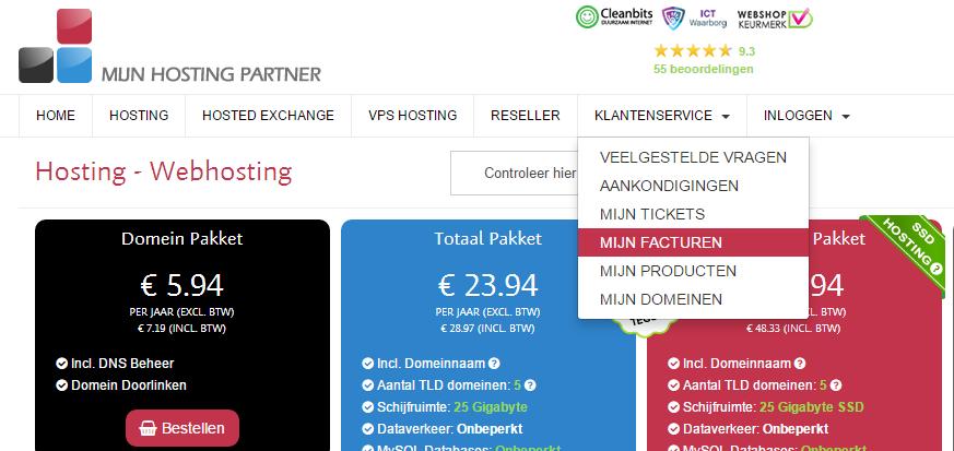 hoe betaal ik een webhosting factuur mijnhostingpartner.nl 1