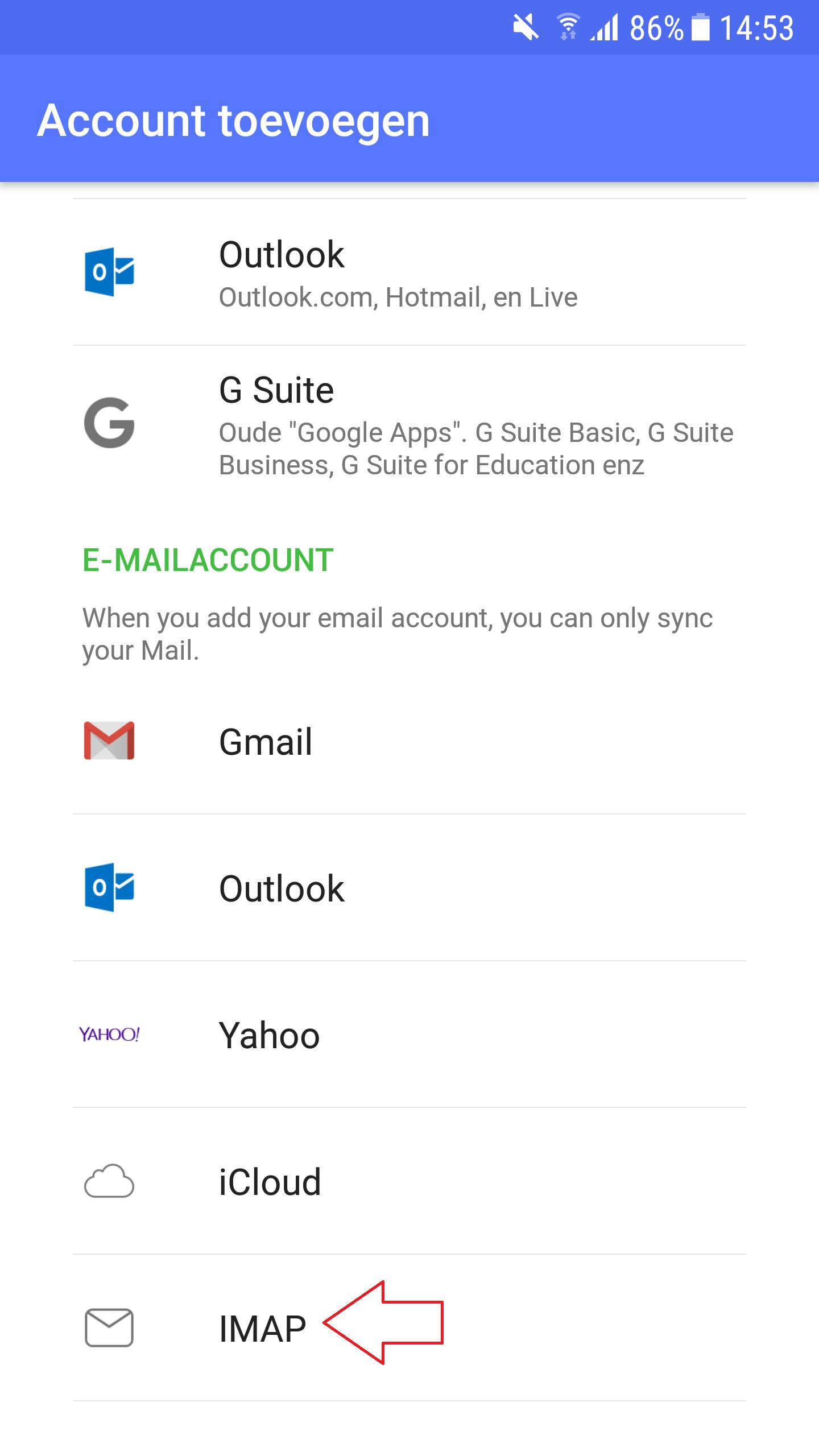Nine Email Instellen 1