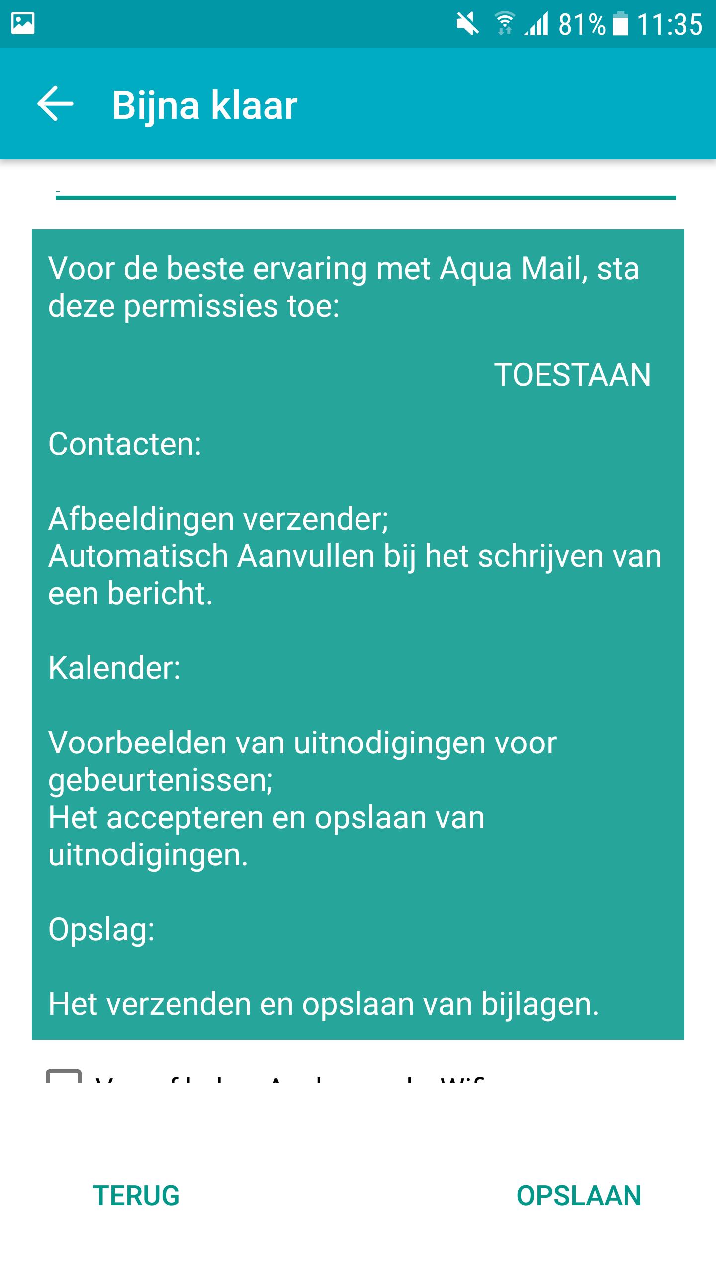 E-Mail instellen - Aqua Mail