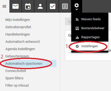 email box schoonmaken in de webmail