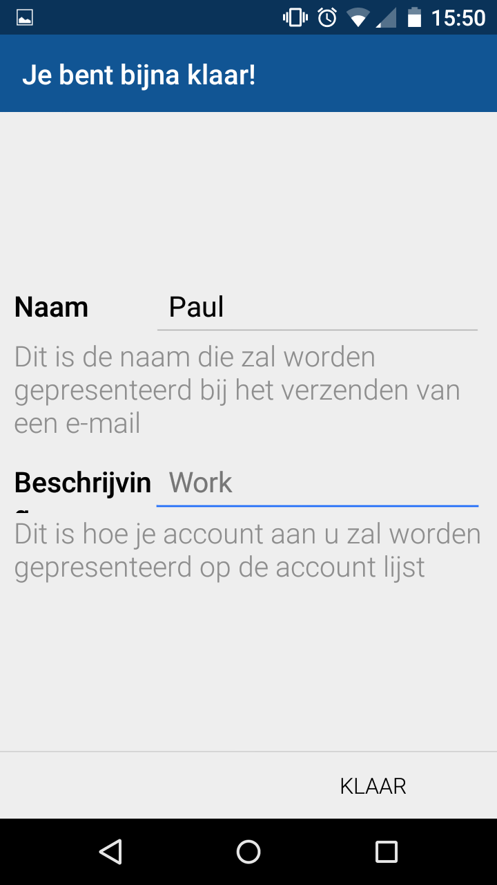 Bluemail instellen android 6