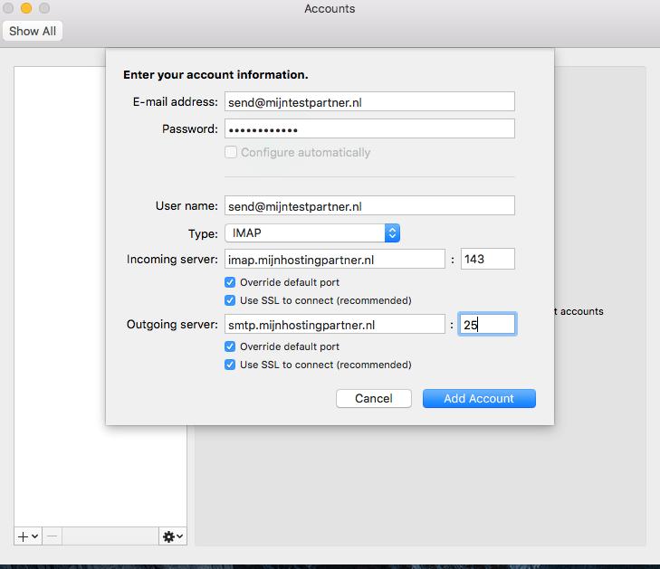 Email instellen - Outlook Mac OSX