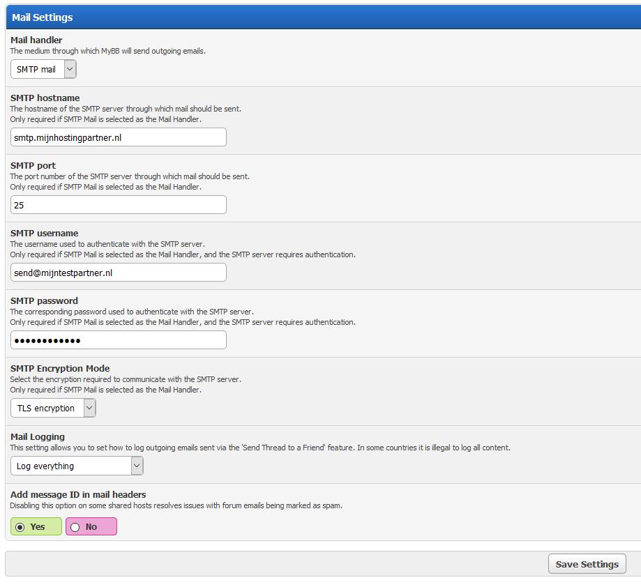 Mybb mail settings webhosting MijnHostingPartner.nl 1