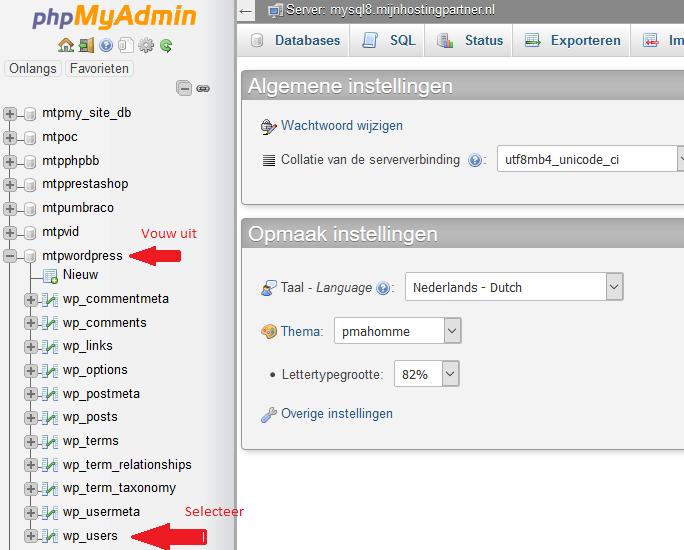 Wordpress hosting wachtwoord vergeten