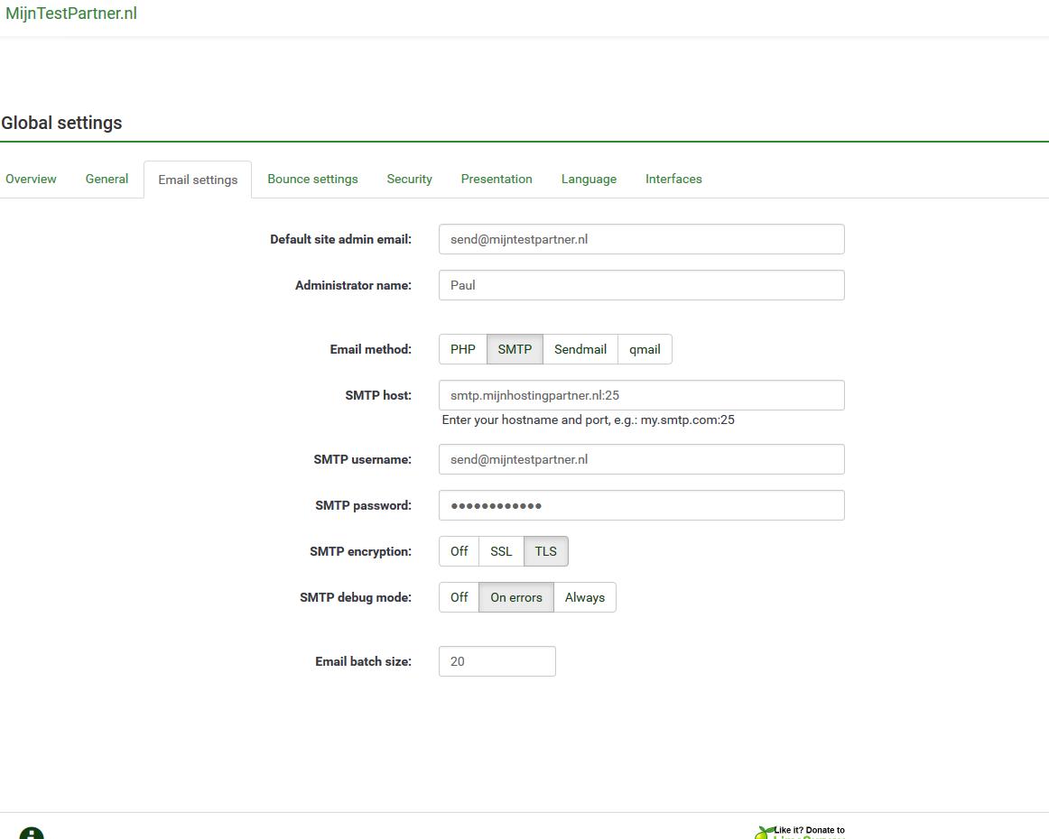 Limesurvey SMTP instellingen