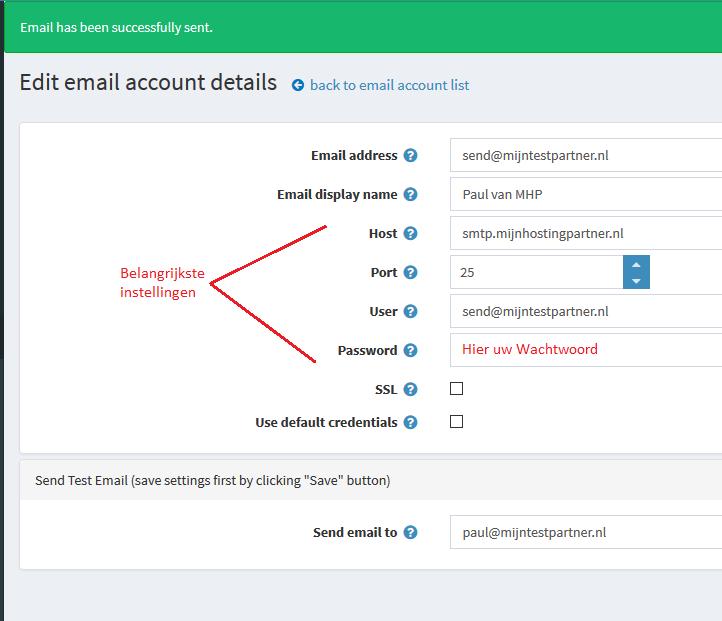 nopCommerce SMTP instellingen
