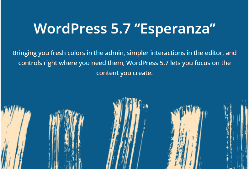 WordPress update 5 7 Esperanza de highlights