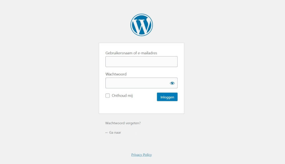 Hoe log je in op een WordPress website