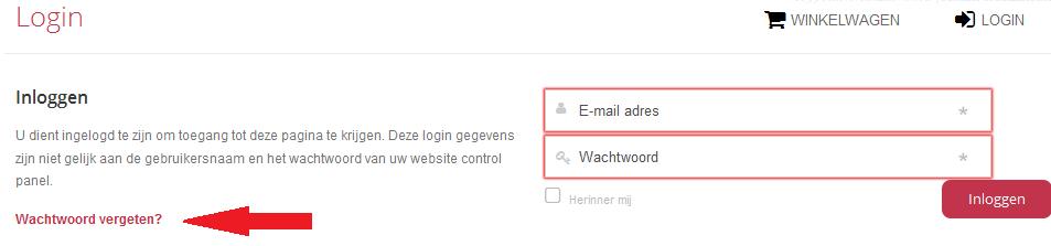 Klantenpanel wachtwoord resetten 1