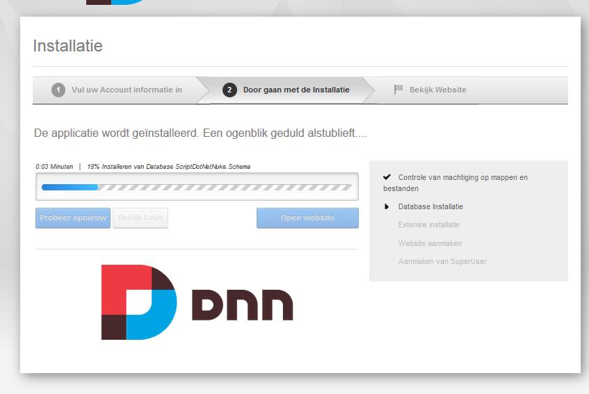 DotNetNuke installeren Web app Gallery