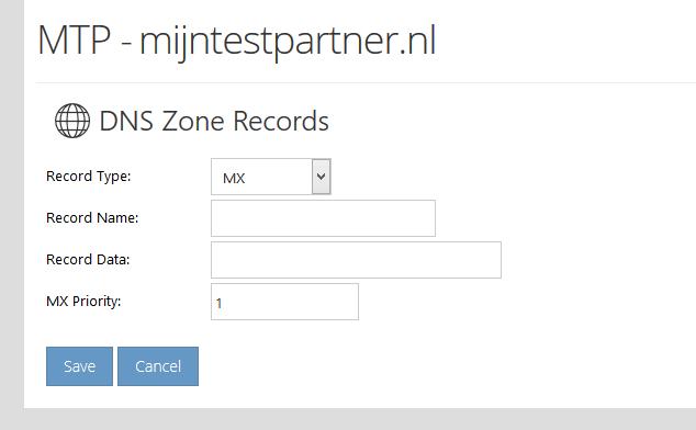 dns records wijzigen control panel webhosting space