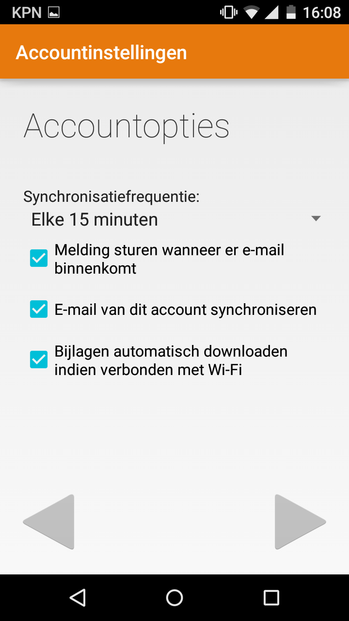 android mail instellen