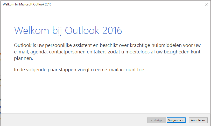 E-mail instellen - Outlook 2016