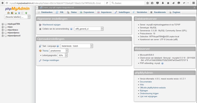 MySQL databases beheren phpmyadmin 2