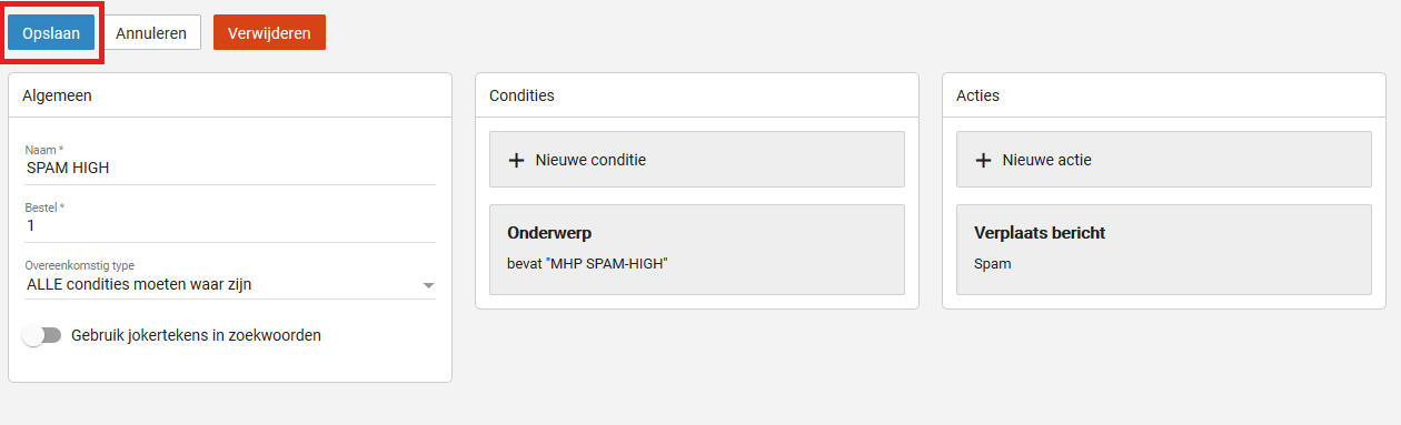 Spam filter instellen email hosting