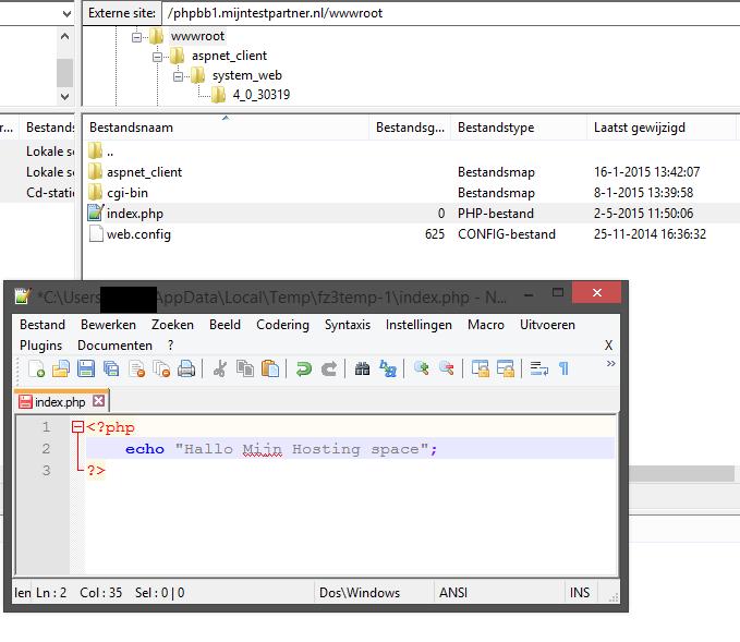 Hosting space terugzetten naar default