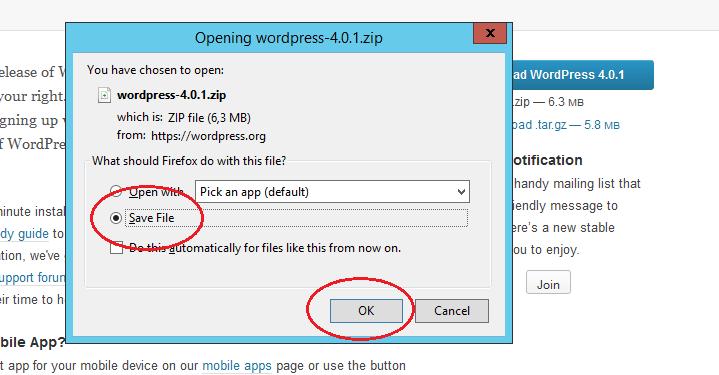 WordPress installatie bestand downloaden