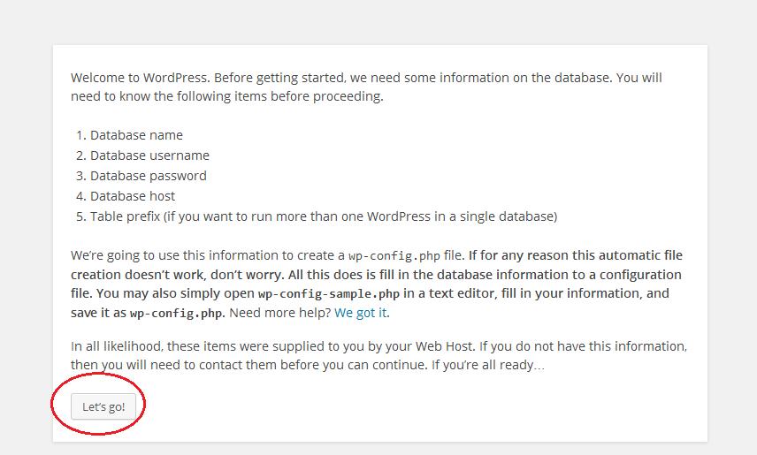 WordPress installatie via de browser afronden