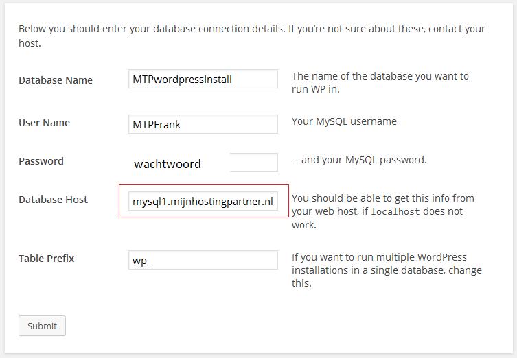 Voer MySQL database gegevens aan voor WordPress