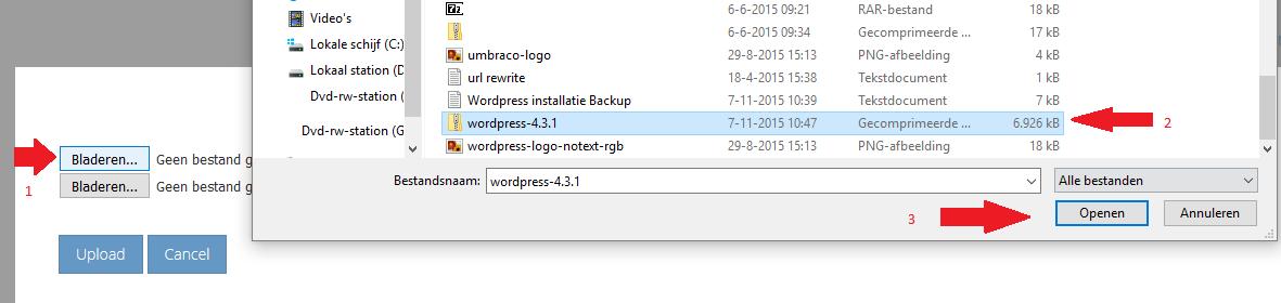 Uploaden en selecteren van het WordPress zip bestand