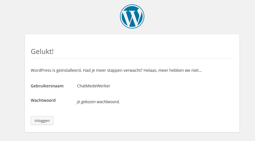 Wordpress installeren via web app 10