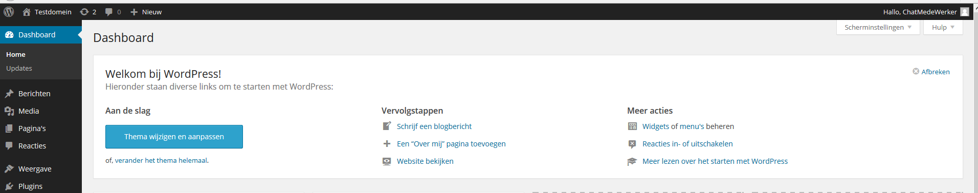 Wordpress installeren via web app 12