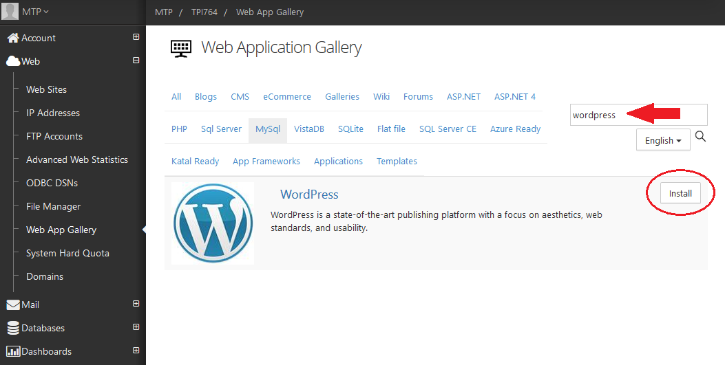 Wordpress installeren via web app 2