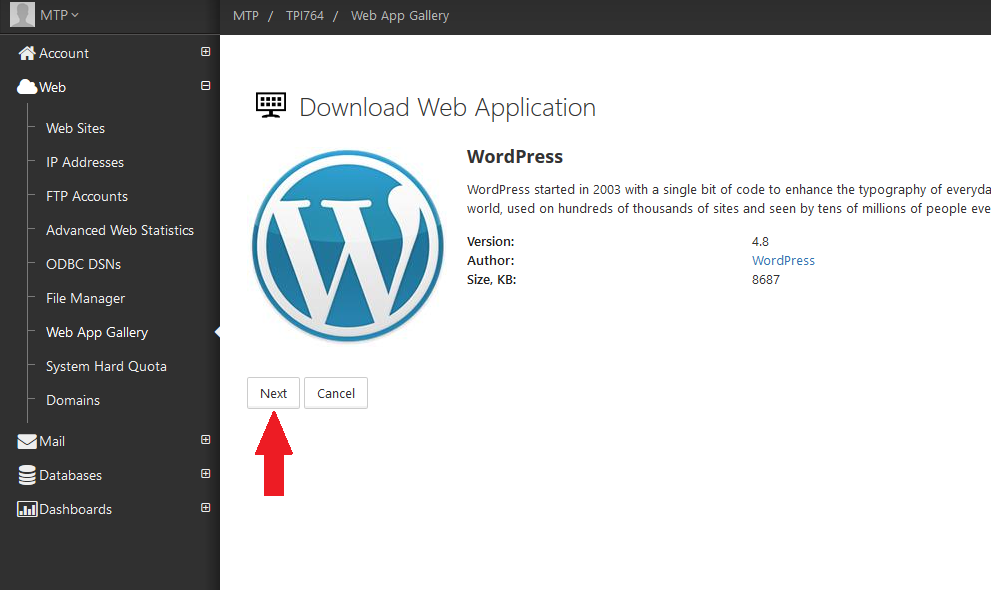 Wordpress installeren via web app 3