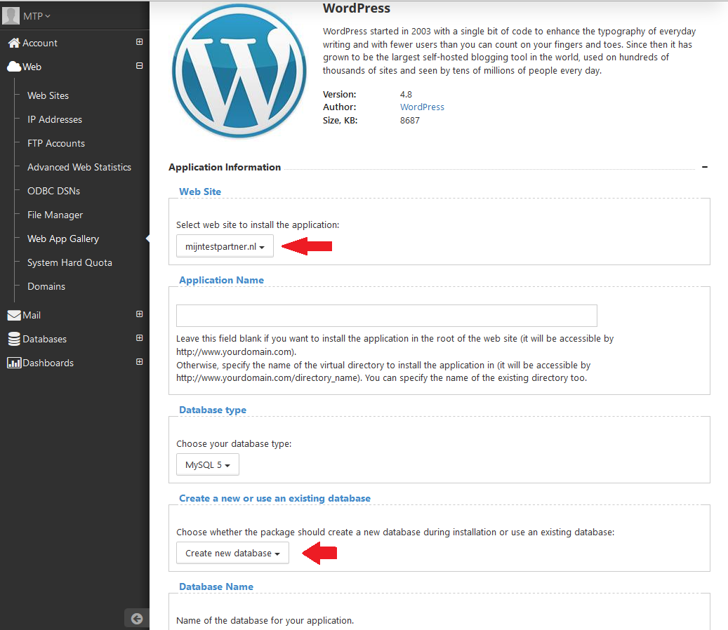 Wordpress installeren via web app 4