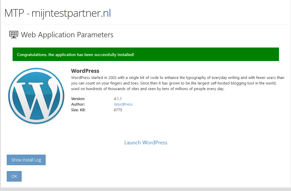 Wordpress installeren via web app 7