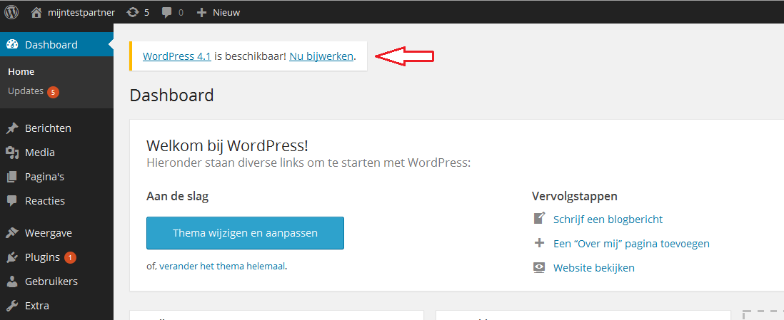 hoe kan ik wordpress updaten