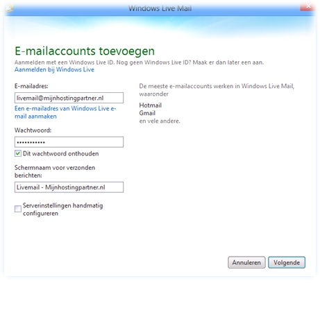 Livemail account toevoegen