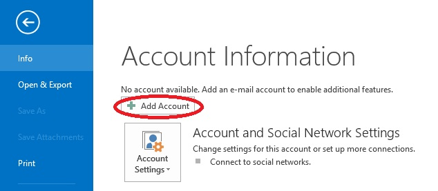 Outlook2013 - Add Account