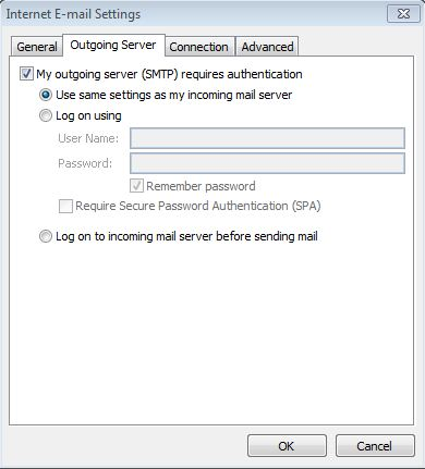 Outlook2013 - Outgoingmailsettings