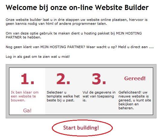 Hoofdpagina Sitebuilder
