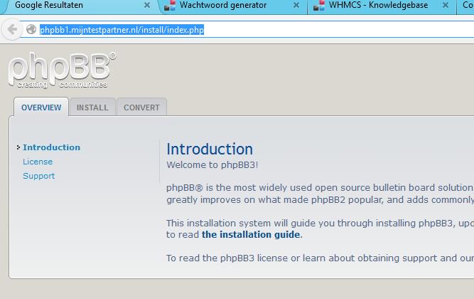 phpBB installeren