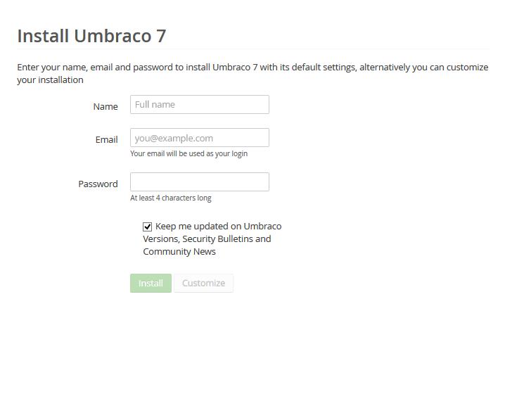 Umbraco hosting installeren